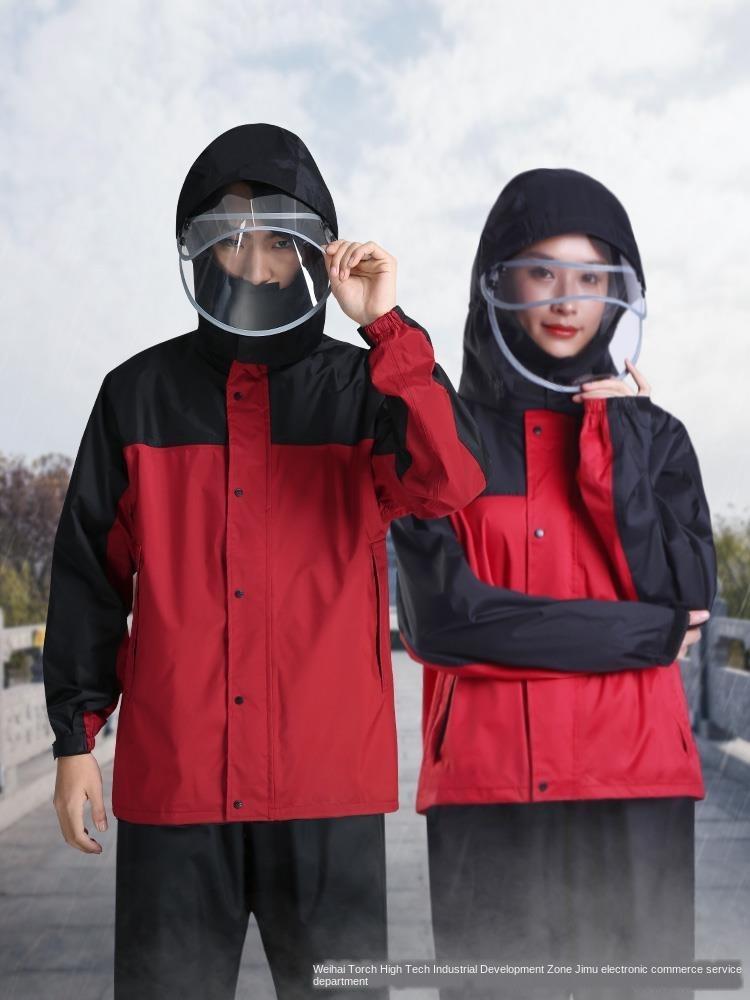 CsA06 Дождевик и дождь набор утолщенной мужские и женские водонепроницаемый костюм брюки костюм плаща брюки комплект разъемный корпус непромокаемые одежда для взрослых два-р