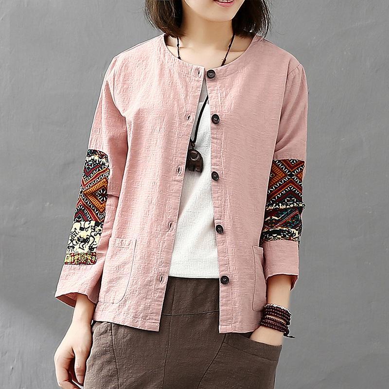 Cotton Linen Women Jacket Thin 2020 Autumn National Patchwork Nine Quarter Sleeves Cardigan Vintage Pocket Women Coat YoYiKamomo