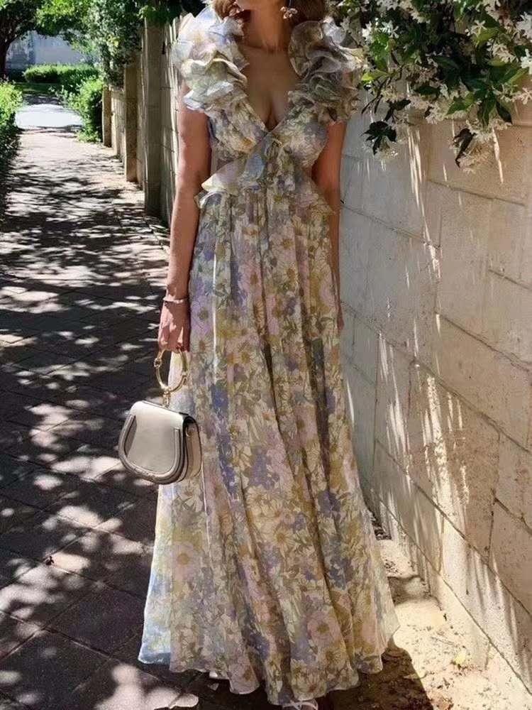 Avustralya 2020 yaz yeni ruff yaka ipek etek, seksi baskı elbise sahil resort elbise kadın