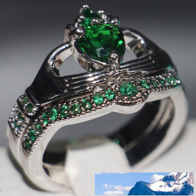 الأزياء والمجوهرات chouchong فريد DESGIN 10KT الذهب الأبيض معبأ شكل قلب الزمرد الأحجار الكريمة تشيكوسلوفاكيا الماس المرأة زوجين خاتم الزواج