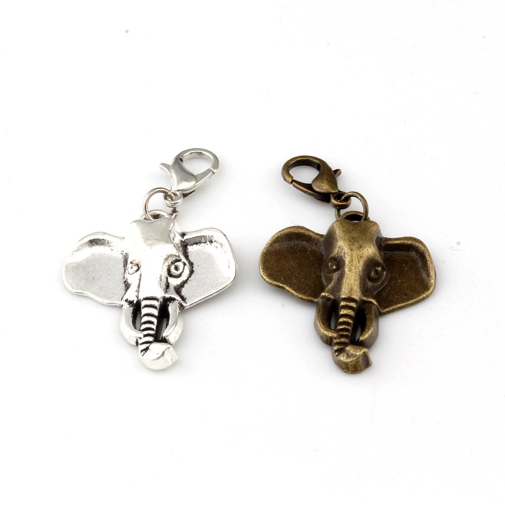 50Pcs / lots Antik Silber / antike Bronze Elephant Kopf-Charme-Korn mit Hummer-Haken-passenden Charme-Armband-Schmucksachen DIY 22.8x41mm A-296b