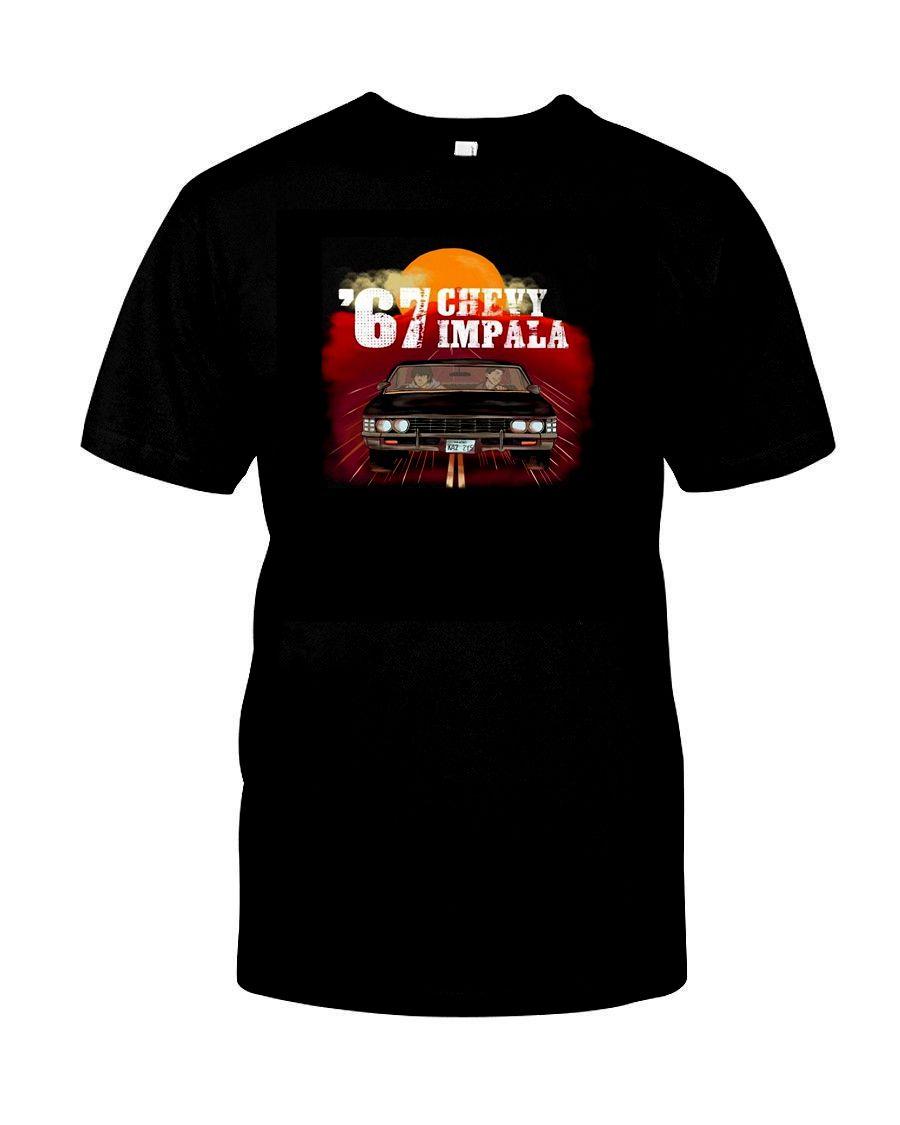 Supernatural 67-Chevy Impala Dean Sam Winchester Siyah tişört S-5XL Kısa Kollu Pamuk Tişörtlü Ücretsiz Kargo TOP TEE