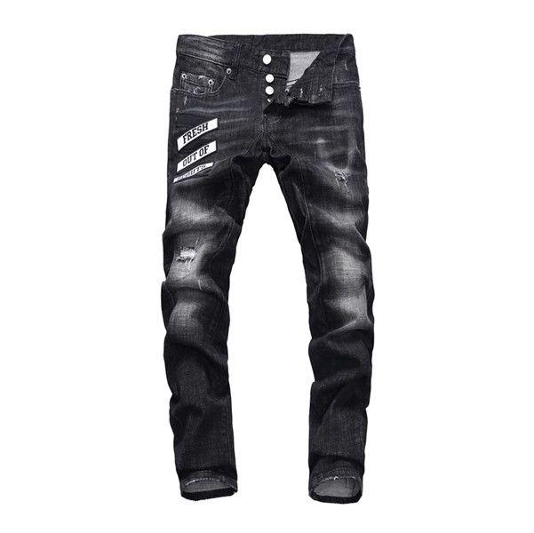 Flacas pantalones rectos 2020 del diseñador de moda bordado dril de algodón de los hombres de los pantalones rotos salvaje edición europea y americana Tamaño 28-38