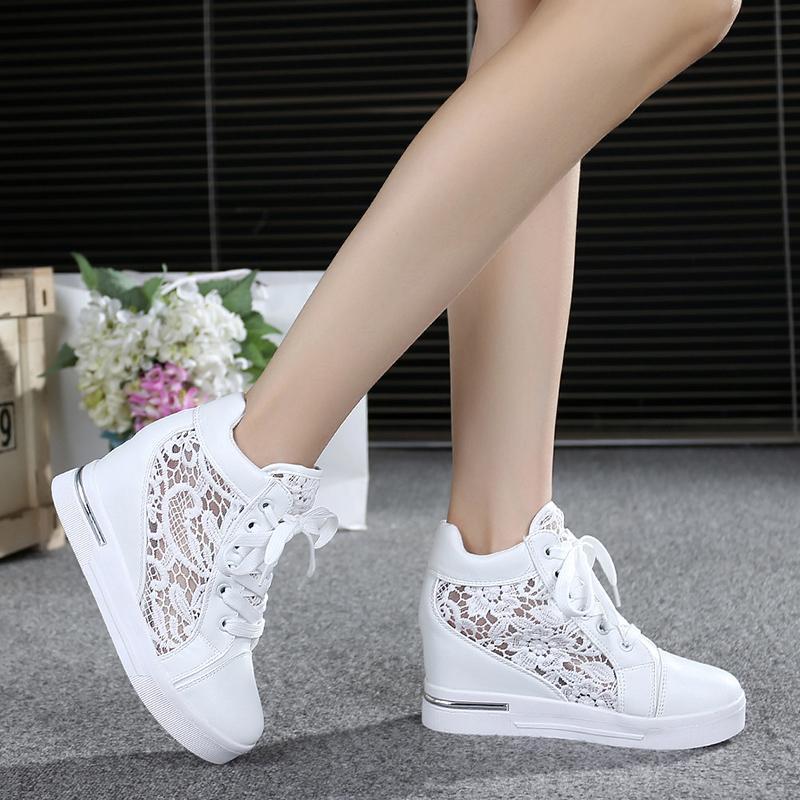 Yaz Dantel Kadın Ayakkabı Kadınlar Nefes Mesh Sneakers Flats Dantel Loafers Yüksek Topuklar Platform Wedges Casual Bayanlar Creepers MX190816