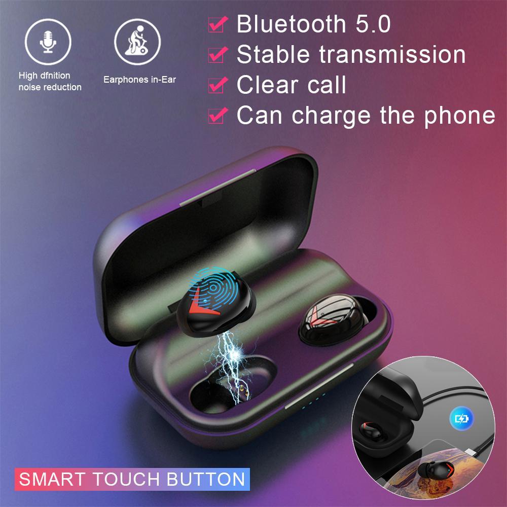 A8 TWS بلوتوث 5.0 سماعات ستيريو سماعة رأس لاسلكية الرياضة للماء سماعات الأذن سماعة مع الميكروفون بطارية 2000mAh الشحن مربع