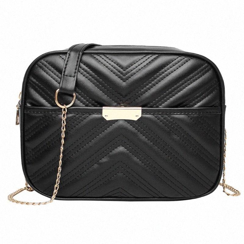 Sacs crossbody pour les femmes solides Zipper Vintage Hnadbag Téléphone Sac chaîne Casual petit épaule Messenger Bag Bolso Mujer Hot Kb6o #