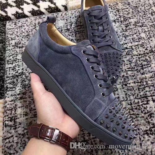 Grau, Rot, Schwarz Low Sneaker Suede Spiked Toe Rantus Orlato Lovers Marke gute Qualität beiläufige Schuh-Turnschuhe Großverkauf Freies Shiping