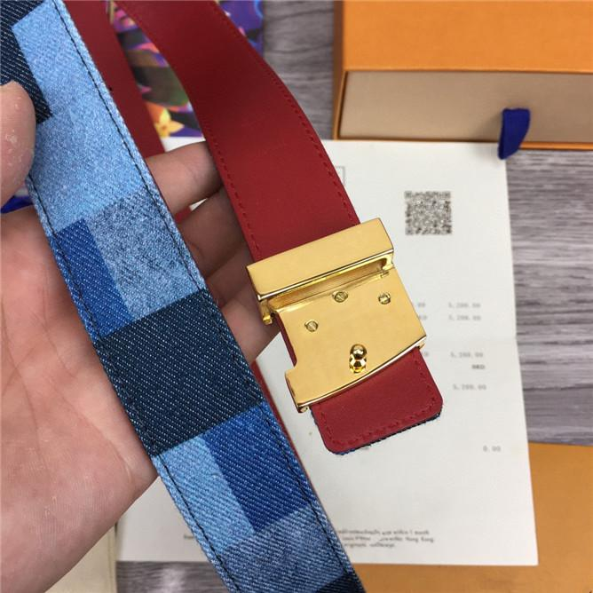 재료 브랜드 벨트를 지원하는 유럽과 미국 브랜드 패션 고급 벨트 고급 버튼을 3.0 cm 폭 가죽 멀티 컬러 데님 캔버스