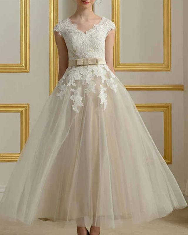 A-ligne Robes de mariée Jewel longueur cheville Dentelle Tulle mancherons vintage des années 1950 avec Bow (s)