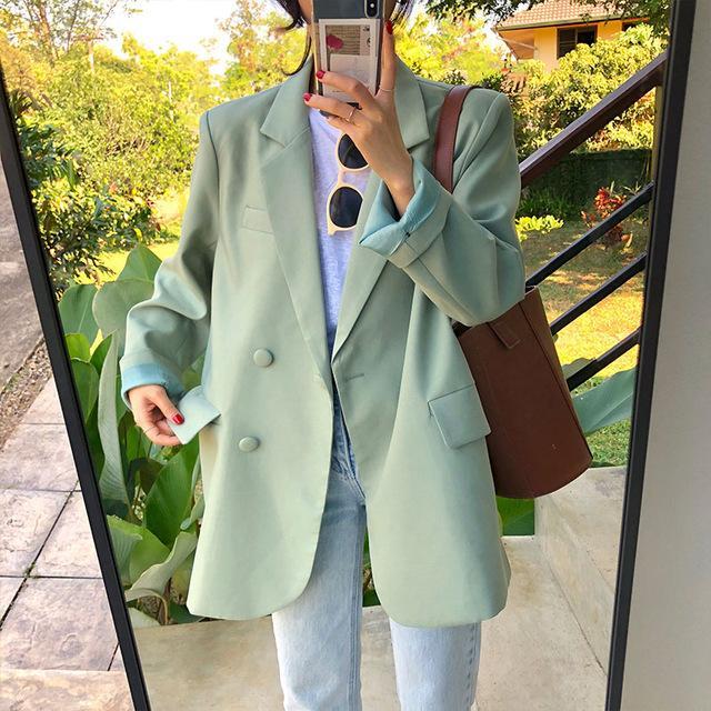 느슨한 밝은 녹색 노치 여성 자켓 고체 긴 소매 원 버튼 여성 정장 2020 가을 여성 패션 정장 착실히 보내다 정장