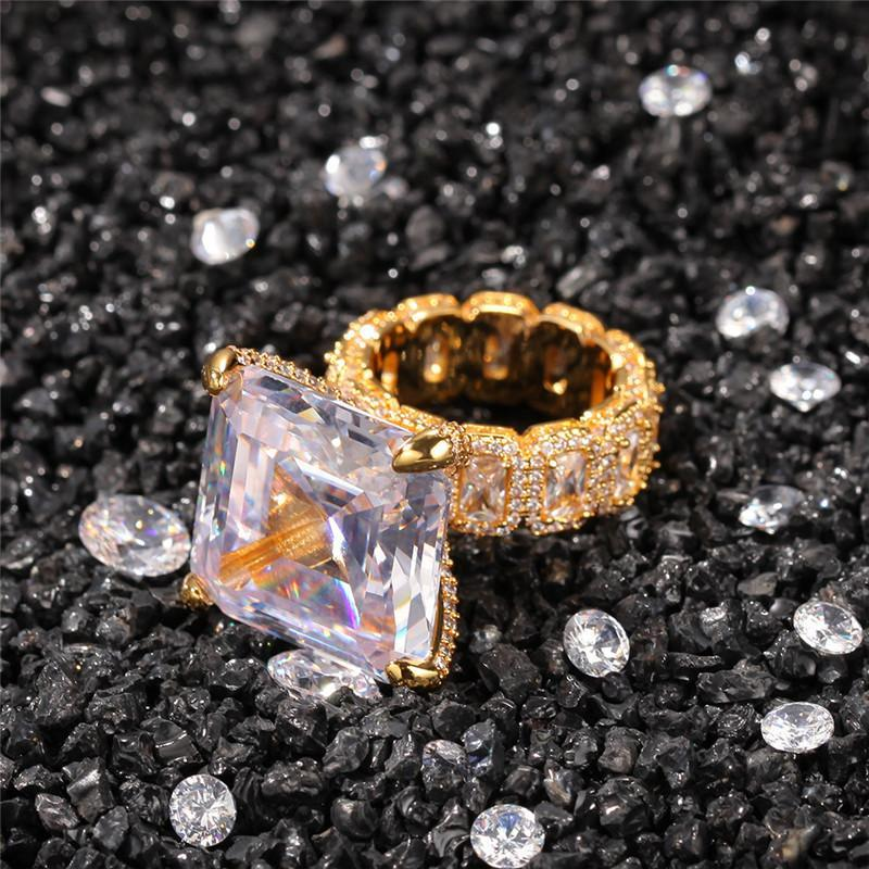 18K مطلية بالذهب الهيب هوب خواتم تصميم العلامة التجارية مثلج خارج يبرد رجل خاتم الماس بلينغ زركون الهيب هوب مجوهرات