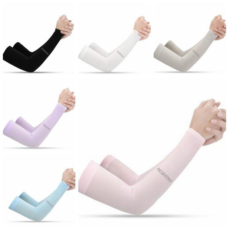 Sleeve Ice Cool Breathing Sunscreen Sleeve Outdoor Sports Fashion Ice Silk Arm Cover Riding Training Arm Warmers Silk Elbow pads LSK590