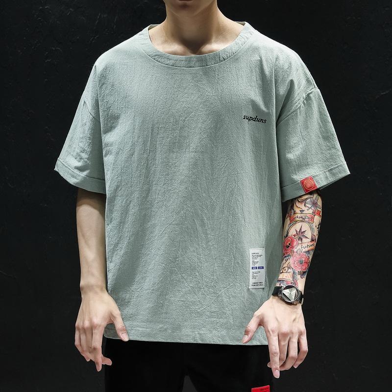 2020 Été T-shirt décontracté hommes coton manches moitié homme T-shirt O col lâche manches courtes pour hommes Tee shirt Homme
