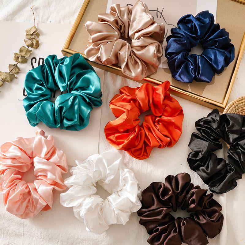 Boy Parlak Renk Saç Scrunchies Kadınlar Ipek Scrunchie Elastik Saç Bantları Kızlar Şapkalar Donut Kavrama Döngü At Kuyruğu Tutucu
