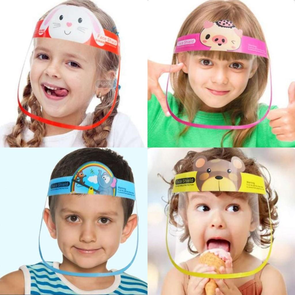 Nosotros stock, Niños protector de cara de dibujos animados máscara PET anti Escupir aislamiento máscaras de protección facial completa FY8096 transparente de protección del visor de plástico