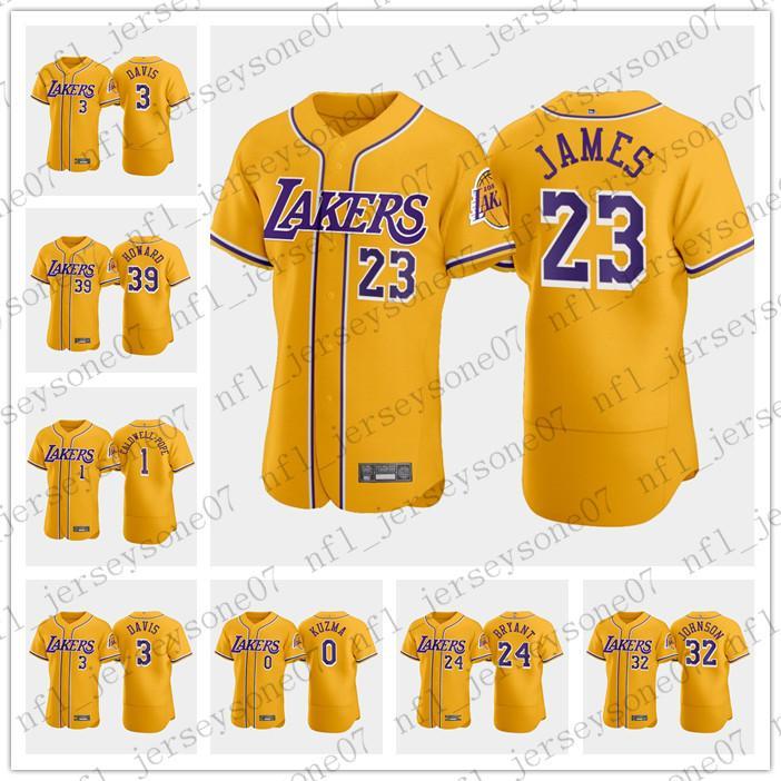 Mens personalizado mulheres jovensLakersX 2020-2 0 # Kyle Kuzma 39 # Dwight Howard 32 # Magic Johnson Crossover amarelo Basetball Jerseys