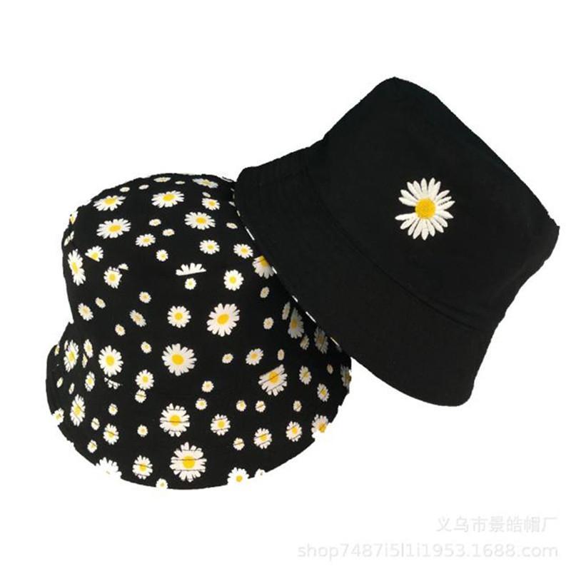 1 ПК Ромашка Bucket Hat дама мода хлопок пляж шлемы Sun Реверсивного Femme Цветочная панама Fisherman лето