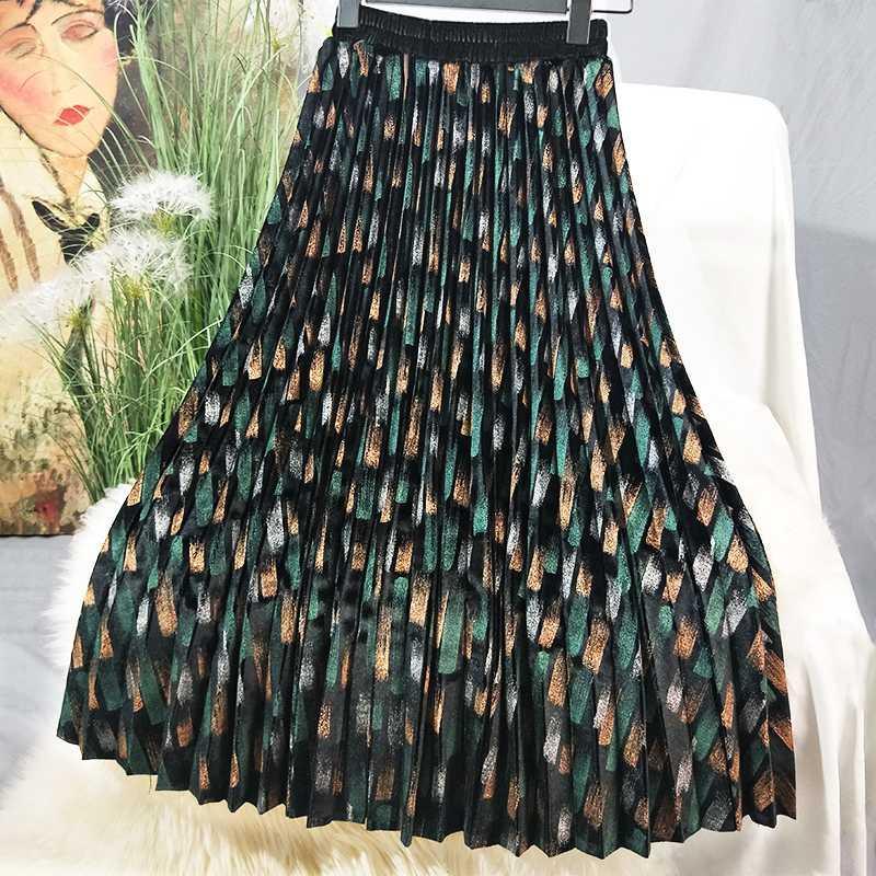 2020 Mulheres da cintura da mulher outono Saias Graffiti Vintage impresso Velvet saia plissada plissado Elastic saias longas Femme jupes