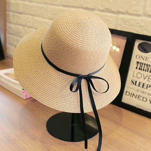 grandes aleros estilo coreano sombrero de playa del arco cara protección solar Sun de la paja del sombrero de paja del verano nueva moda