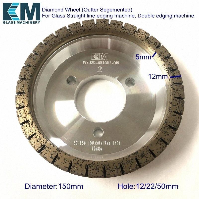S2-CS6 / Diamant roue 150xdx12x5mm pour Bordures droite ligne, assemblage en onglet déligner double machine (Outter Segemented Couronne) xMSK #