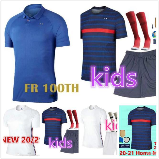 France EURO 2020 2021 maillot de football maillots de Football Maillot Equipe de France 20 21 19 MBAPPE Griezmann Kanté Pogba Maillot de pied pour enfants