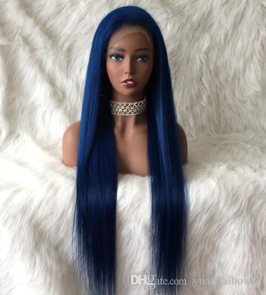 mavi insan saçı tam dantel siyah kadın ücretsiz gönderim için Brezilyalı bakire saç mavi renk dantel ön peruk peruk