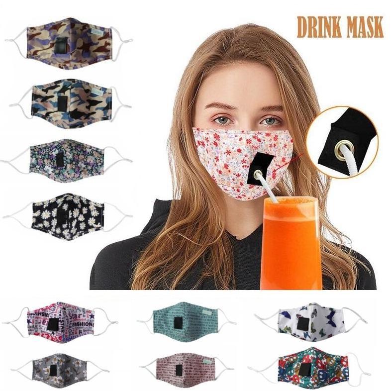 Party-Getränk Masken Erwachsene und Kinder Anti PM2.5 Umweltverschmutzung Nebel Cotton Mouth Straw Maske wiederverwendbare waschbare Staubdichtes Schutzgesichtsabdeckung