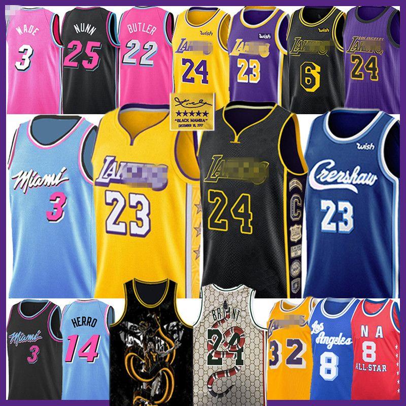 LeBron James 23 6 Basketball Maglia Bryant Dwyane Wade 3 Jimmy Butler Anthony Tyler Davis Earvin Herro Nunn Shaquille O'Neal Johnson 22 14