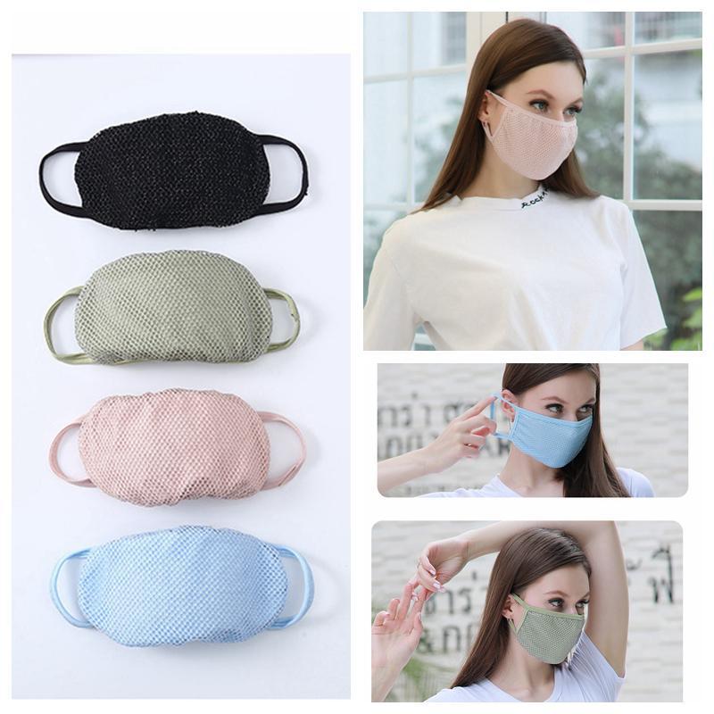 النساء قناع الوجه شبكة التنفس أقنعة تغطي الوجه واقية من الشمس الصيف قابلة لإعادة الاستخدام قابل للغسل أقنعة واقية ضد الغبار قناع في YFA2253 المالية