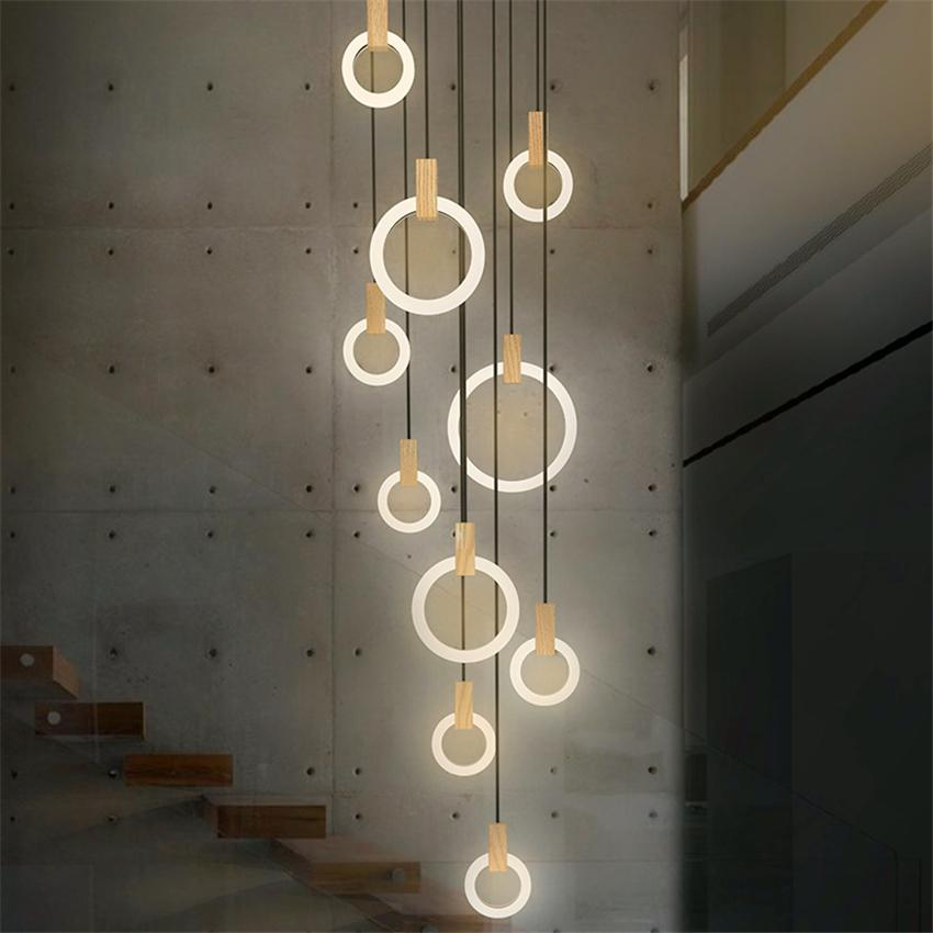 Contemporary Wood LED Chandelier Lighting Acrylic Rings Led Droplighs Stair Lighting 3/5/6/7/10 Rings Indoor Lighting Fixture