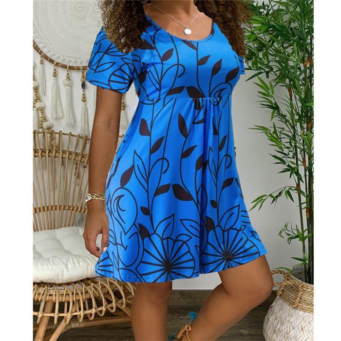 ملون مصمم للمرأة فساتين الصيف كم قصير 5XL الزهور موضة الملابس للنساء بالاضافة الى حجم اللباس