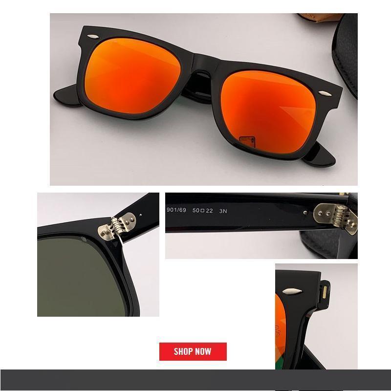 piazza Moda Occhiali di top brand designer occhiali a specchio Uomo Classic Flash All-Fit Specchio UV400 di Sunglass 54 millimetri 50 con la scatola di marca CE