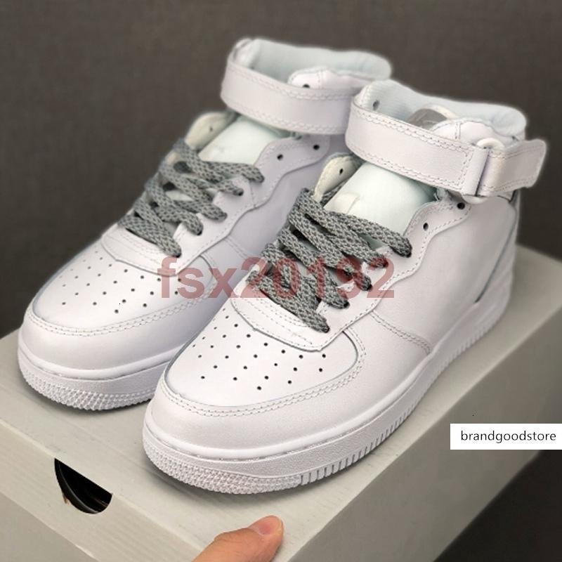 Nueva llegada Fuerzas de alta gris blanco reflectante 3M de plata para mujer para hombre de los zapatos ocasionales 1s monopatín de las zapatillas de deporte 36-45