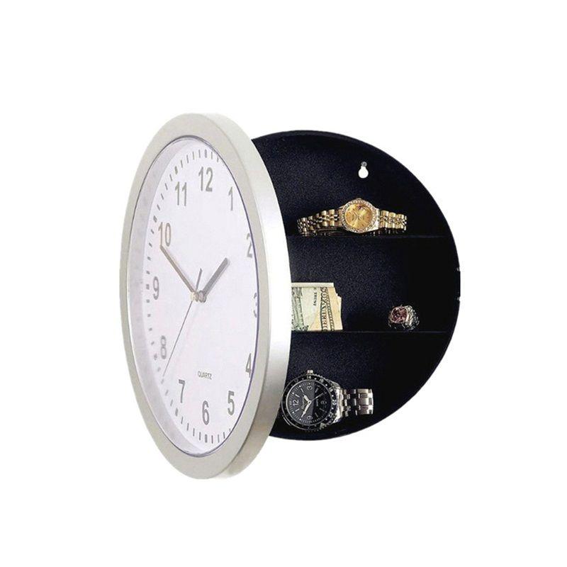 Círculo de almacenamiento oculto Caso reloj de pared reloj blanco Relojes Caja fuerte con envase colgante Ocultar Campana Conceal decoración del hotel C2 17hl