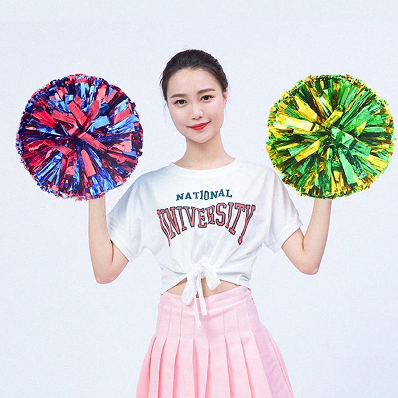 1 pezzo metallico colorfast Cheerleader Pom Poms Cheerleading Cheer Pompoms Pom Majorettes fiore della mano Aerobica le sfere di sport 1xGu #