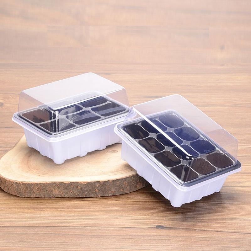 1Carton=100Pcs 6/12 Holes Vegetable Flower Seeds Growing Tray Garden Plant Nursery Pots Seedling Plate With Bottom Tray And Lid lxj015
