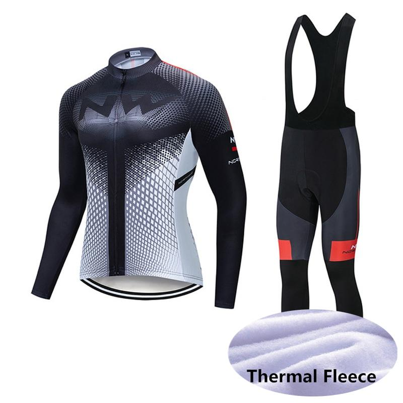 NW Pro Team Uomini traspirante caldo ciclismo invernale in pile termico pantaloni in jersey bretelle set strada sportwear bicicletta X71010