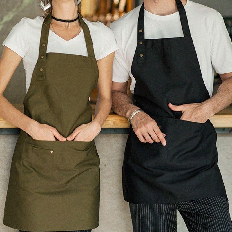 Bege Azul Poliéster Cotton Bib avental Barista Bartender garçons Pastry Chef uniforme Restaurante Hotel Bistro Cafe Trabalho desgaste E57 m6nT #