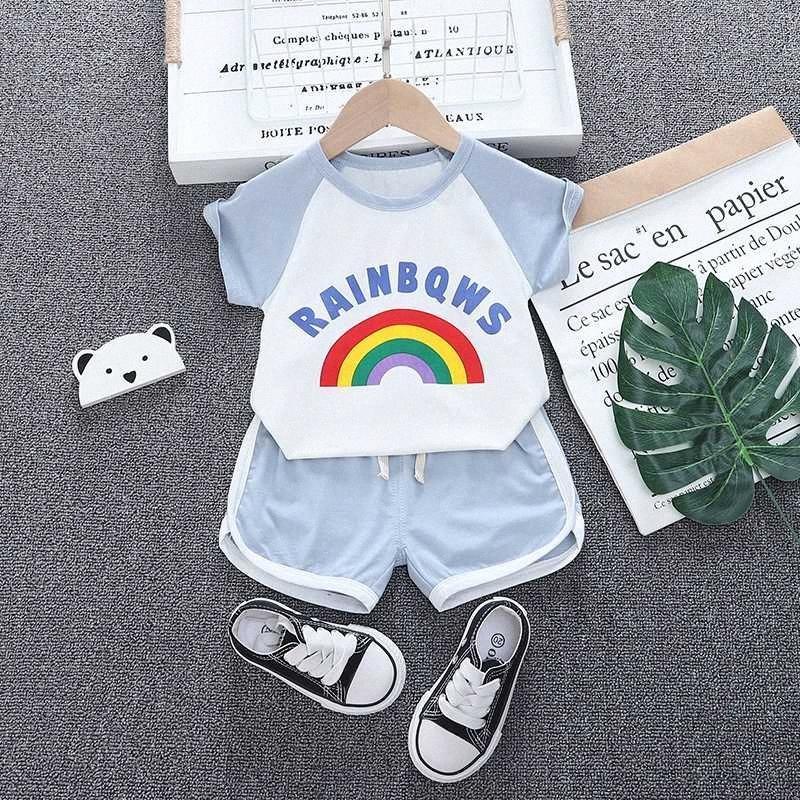 Moda Meninos Meninas do verão crianças roupas de algodão do arco-íris T-shirt curto 2pcs / Sets Roupa criança Define Crianças Bebés Fatos 2W1z #