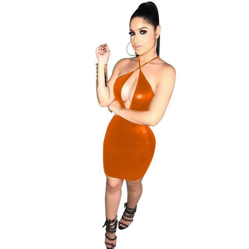 18 Colors Criss Cross Halter Sexy Mini Dress Ladies Novelty Sleeveless Vestido Shiny Faux Leather Hollow Out Bust Night Clubwear
