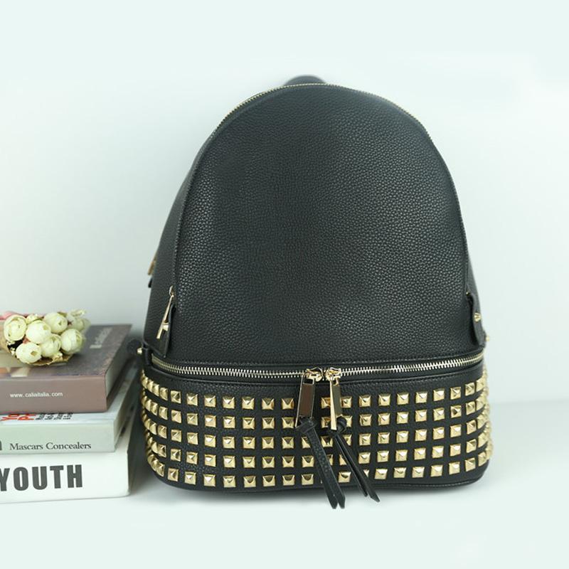 Горячие продажи Мода женщин заклепка рюкзак сумки повелительницы девушки школы сумка женская дизайнерская сумка плеча сумки кошелек путешествия пакет-7