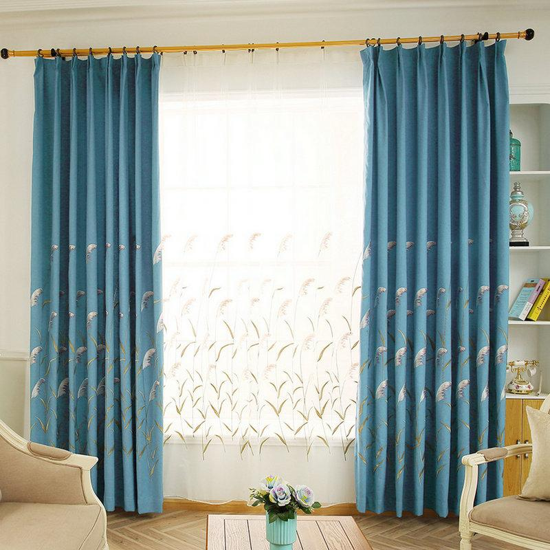 2020 Pastoral Faux Linen Blackout Curtain Reeds Design For Living Room Kitchen Bedroom Home Embroidered Drapes Tulle Blinds Cortina From Highqualit10 109 84 Dhgate Com