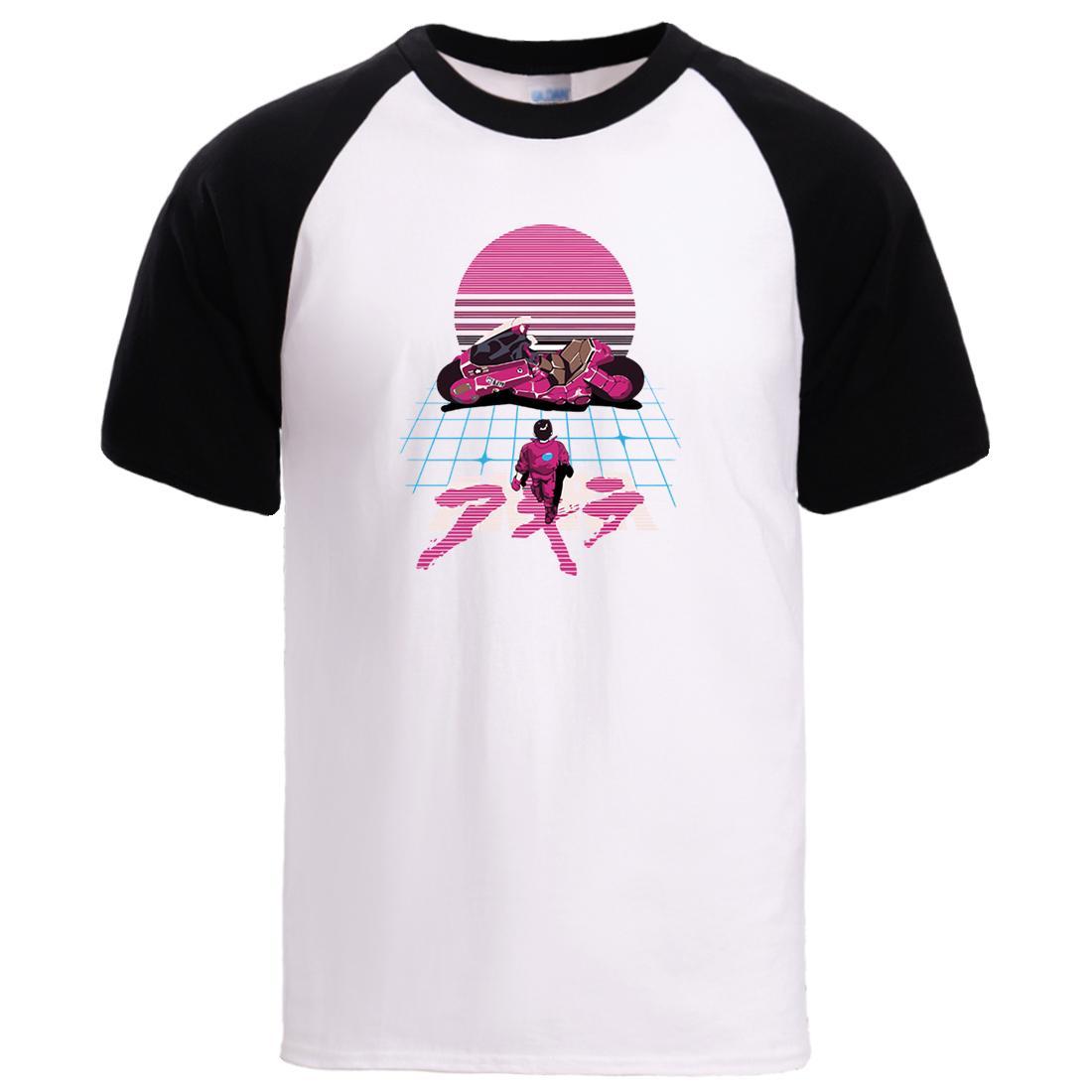 camisas para hombre de las camisetas Akira Synthwave Loose T 2020 verano manga corta de algodón Streetwear Hombre Raglan ocasional de las camisetas Top Camiseta del hombre