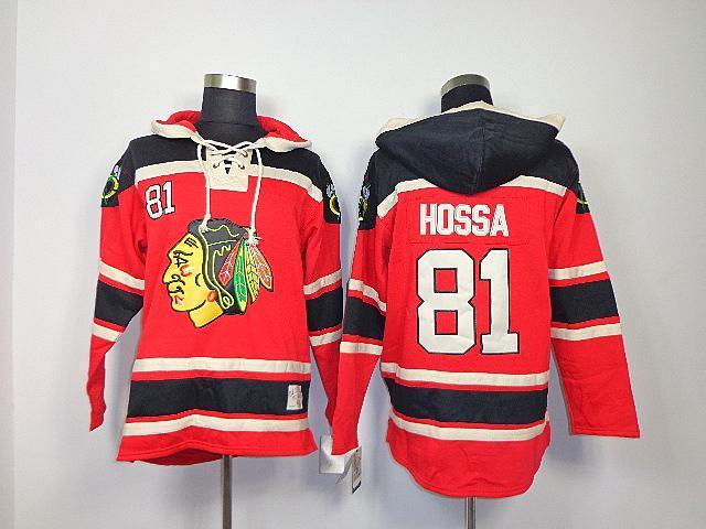 Bon marché 2015 Nouveau vieux temps Hockey Chicago Blackhawks # 81 Sweat à capuche Sawyer Hossa Marian Hossa, Sweat à capuche en polaire en dentelle