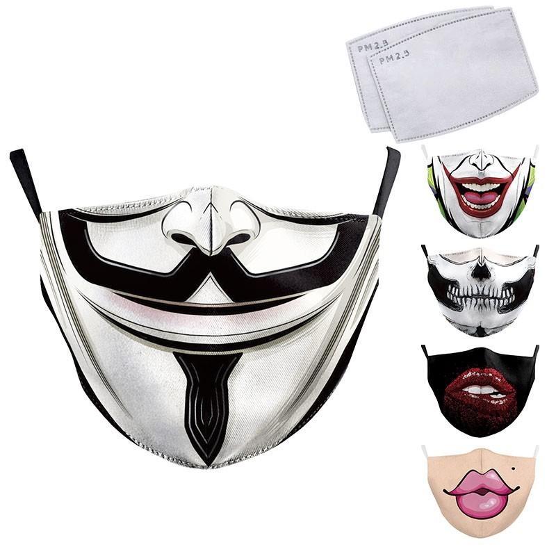 Komik Yetişkin Yüz Büyük Ağız Baskı Kumaş Maskeler Palyaço Ağız Kapak Yeniden kullanılabilir Koruma Toz Washab TR6Q