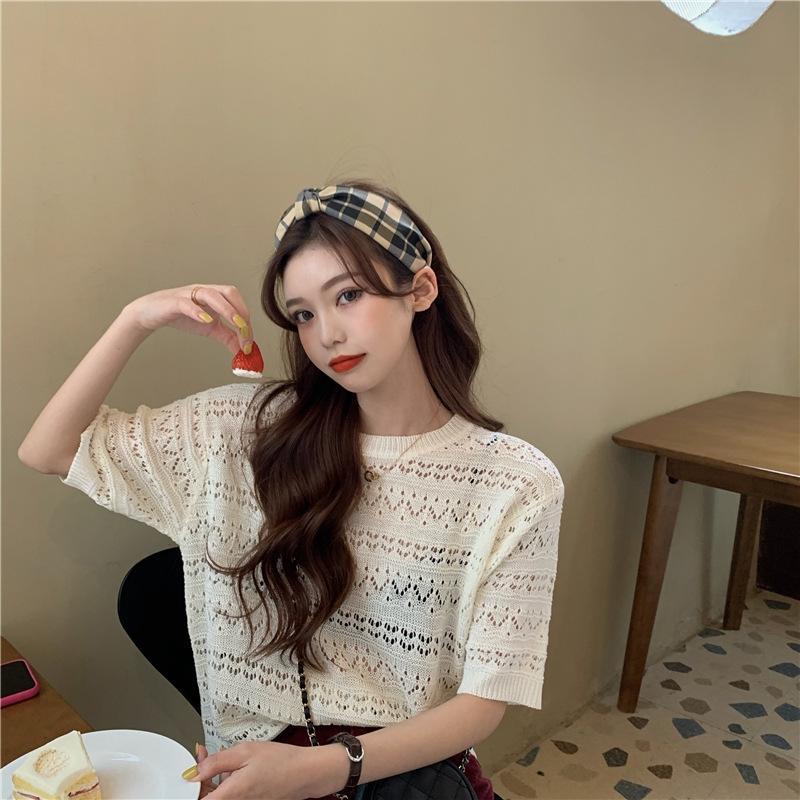 Top à manches courtes creux en soie glacée tricot mince été de femmes lâche Top chemise perspective h1450 chemise de base sexy