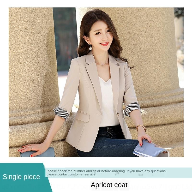 v5EIQ Apricot pequena mola paletó casaco 2020 e terno estilo casual verão coreana de sete trimestre fina superior das mulheres da luva cintura apertada