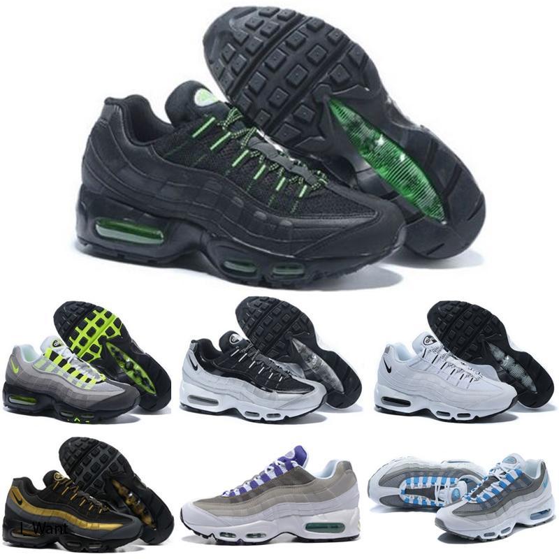 Nike Air Max 95 Los zapatos corrientes de la órbita Triple Negro láser blanco rojo fucsia Bred aguamarina de neón para hombre para mujer entrenadores deportivos zapatillas 36-45