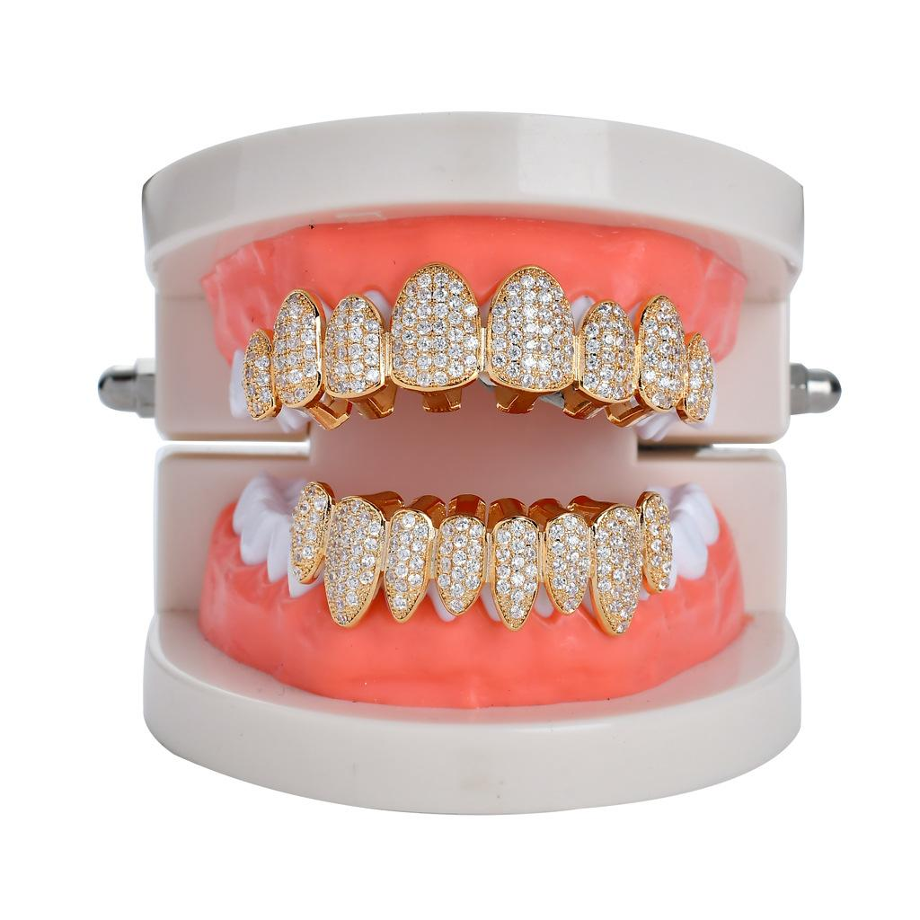 Hip Hop/Punk Teeth Grillz Set Gold Silver Top Irregular 8-tooth Canines With Zircon Teeth Grillz