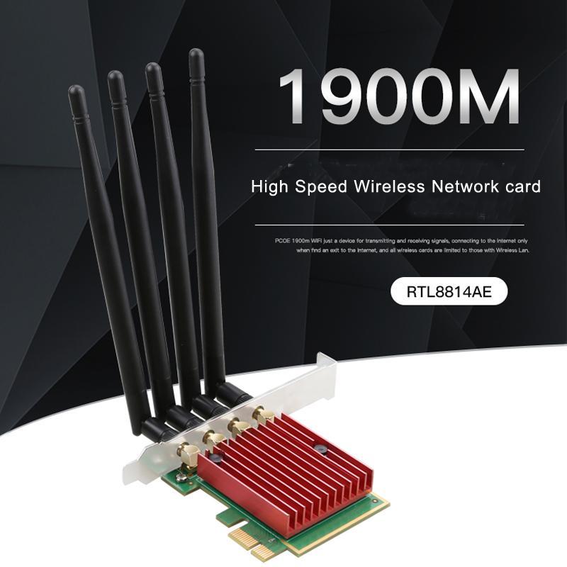 tarjeta de red PCIe de alta velocidad 1900M adaptador de red inalámbrica WIFI RTL8814AE Realtek chip de 4 Antena 2.4G / 5G de banda dual WIFI